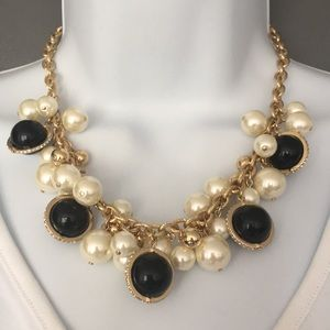Charter Club Necklace Faux pearl black gold (N19)